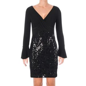 NWT Black Sequin Bell Sleeve Cocktail Midi Dress